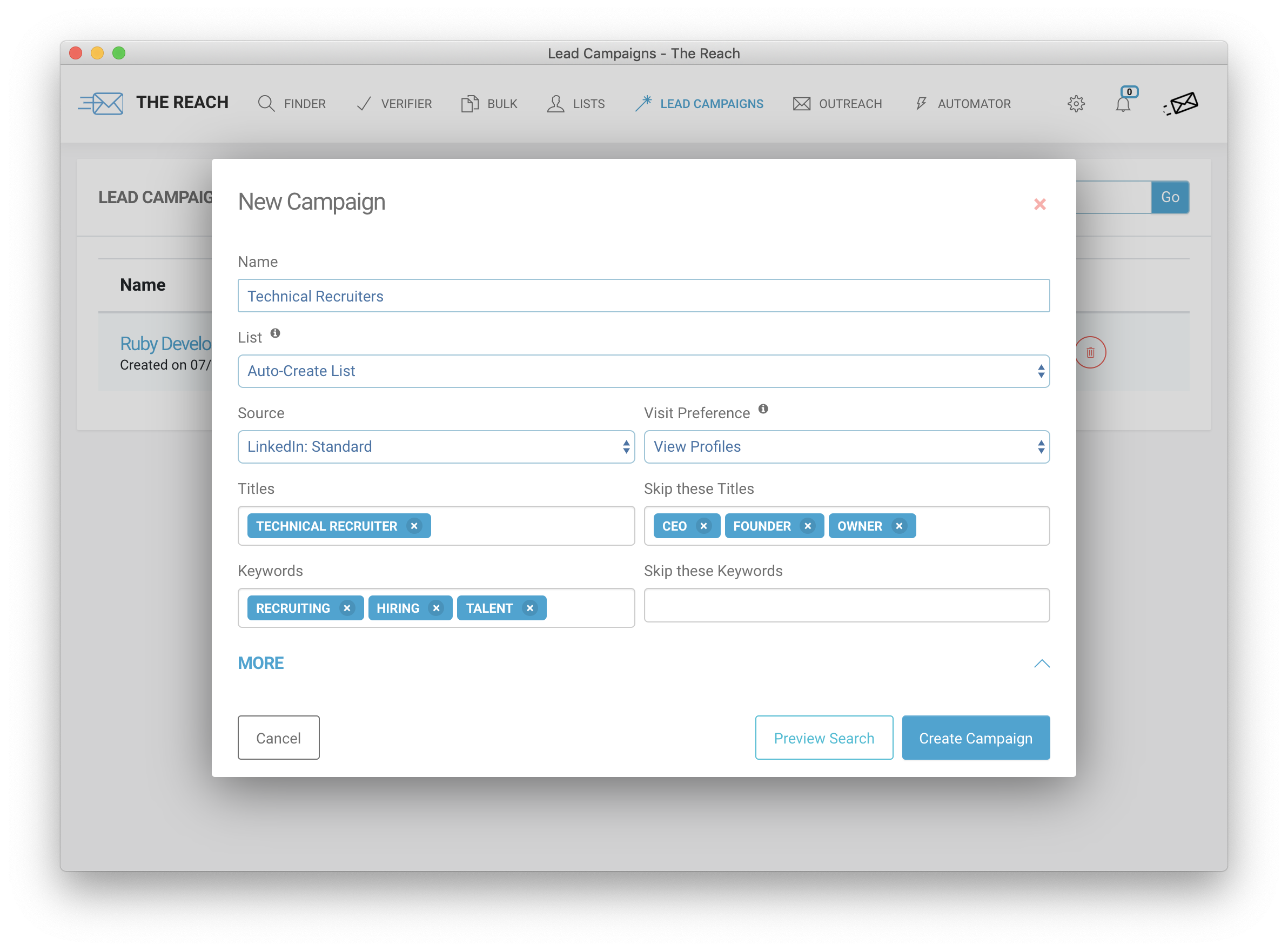 Create a lead campaign to automatically find leads and emails on LinkedIn