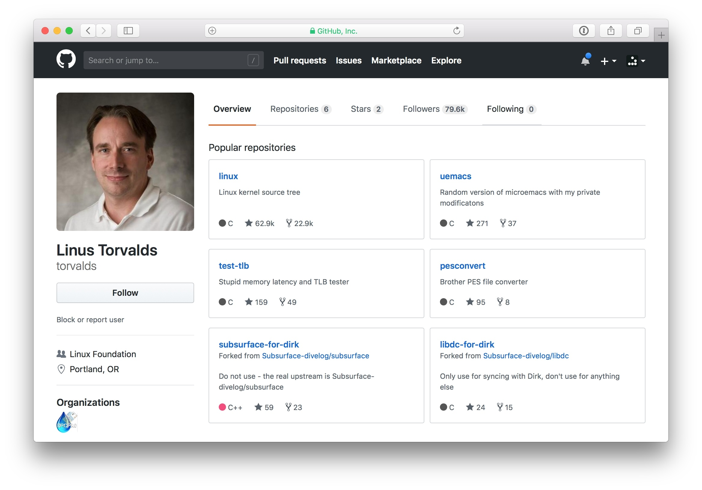 Linux Torvald's GitHub profile.